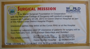 WSF Mission Advertisement at Coron District Hospital