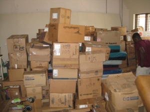 Snapshot of 200+ boxes of donated supplies in storage