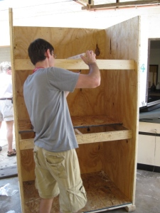 WSF Volunteer Jason Morone designs cabinet from leftover crates