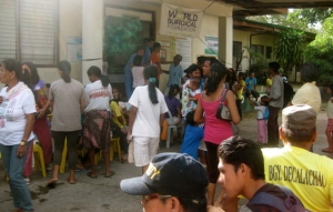 Patients waiting outside of the hospital